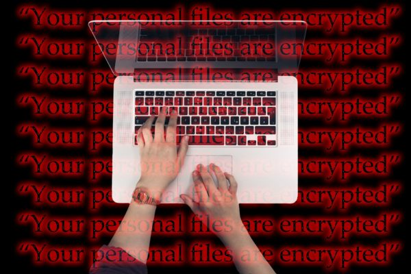 Laptop showing encrypted files